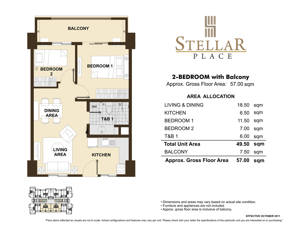 Stellar place dmci homes condo for Floor plans for units